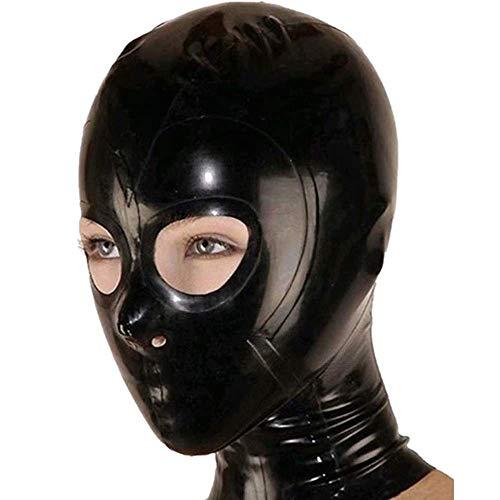 BLATEX Realistische Latex Masker Open Ogen en neusgaten Rubber Unisex Hood Unieke Club Wear. (Aangepast) Zwart