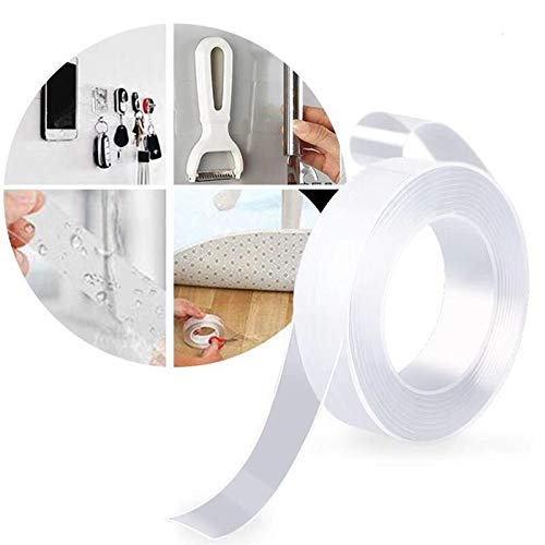 Blasoul Traceless Nano Tape Nano Double Sided Adhesive Tape Removable Adhesive Tape Washable Reusable Nano Gel Grip Tape Transparent Adhesive Silicone Tape Fix Carpet Paste Pictures 3.28FT/1M