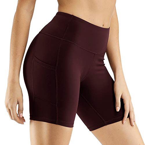 CQC Pantalones cortos de compresión para mujer, cintura alta, para yoga, correr, ciclismo, con bolsillos laterales - Rojo - Large