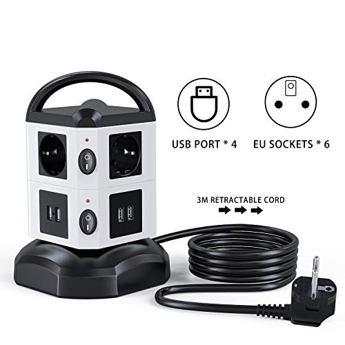 Regleta Vertical Enchufes de 6 Tomas Corrientes, 4 USB Tomas, Cable Extensible de 3 M con Función de Almacenamiento, Proteccion Sobretension Enchufe Multiple con Mango Portátil