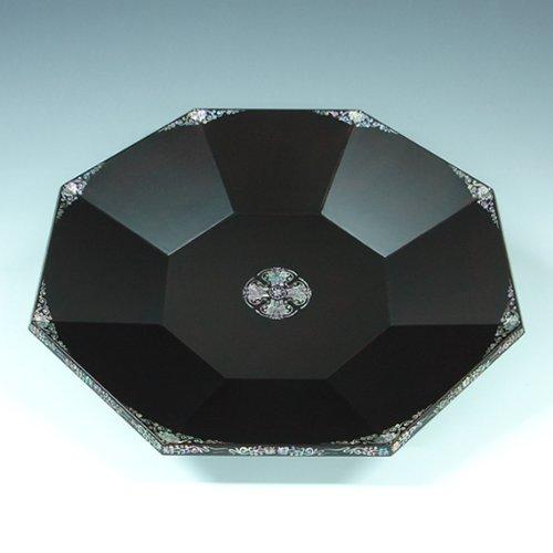 Antique Alive Tableware Incrustation en Nacre Art Finition laquée Bat Design de Luxe Fait à la Main Solide épais Noir Bois octogonale de Service à thé Plateau Snack Plaque