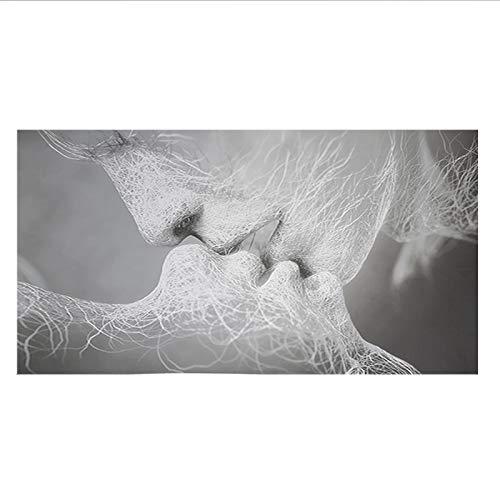 Schwarz und Weiß Liebes Kuss Abstrakte Kunst Leinwand Malerei Wand Druck Bild