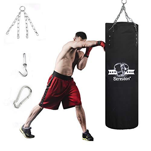 Senston Saco de Arena de Boxeo para Trabajo Pesado, Hanging Canvas Hollow Punch Bag para Entrenamiento de Taekwondo, Boxeo y Muay Thai