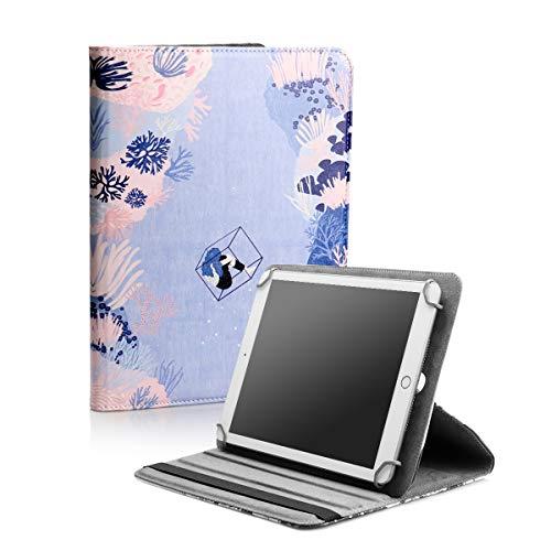 BEISK, Funda Universal para Tablet de 10-10.1 Pulgadas, con Sistema Giratorio de 360º, Rotación, Protección, con Soporte, para Huawei Mediapad/Samsung Galaxy Tab/iPad/Lenovo TAB4 10, Etc. Corales…