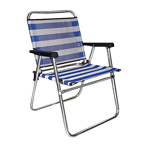 LOLAhome Silla de Playa Plegable Azul Marino de Aluminio de 57x50x78 cm