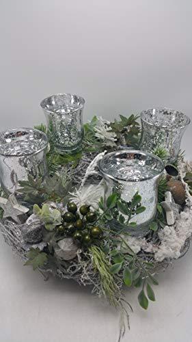 Weihnachtskranz Adventskranz Kunstfloristik Windlichter Beeren Sterne silber XL