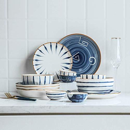 GAXQFEI Cerámica Vajillas, 28 Piezas Creativas Personalidad Porcelana Combinación Set - Bol/Plato/Cuchara | Literatura Japonesa Vajilla Estilo de Restaurante