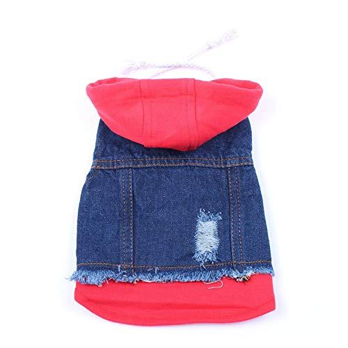 LIUCHANG Chaleco de mezclilla para perros y gatos con sombrero para cachorros con capucha para perros y gatos pequeños y medianos y grandes (color: rojo sombrero, talla: S) liuchang20