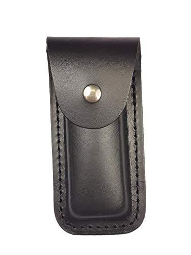 Bio Mordiscos Etui aus hochwertigem Rindsleder (Glattleder). Traditionelle Behandlung - Taschenmesser-Etui (Schwarz)