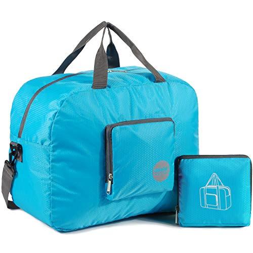 WANDF Foldable Travel Duffel Bag Super Lightweight for Luggage, Sports Gear or Gym Duffle, Water Resistant Nylon (25L Azul)