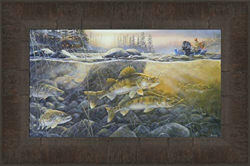 Walleyes On The Rocks by Terry Doughty 11x15 Fishing Fish Lake Boat Cabin Framed Art Print Wall Décor Picture