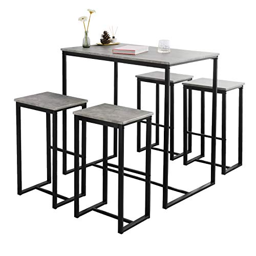 SoBuy OGT15-HG Set Mesa Alta de Bar y 4 Taburetes Muebles Bar Comedor ES (OGT15-HG)