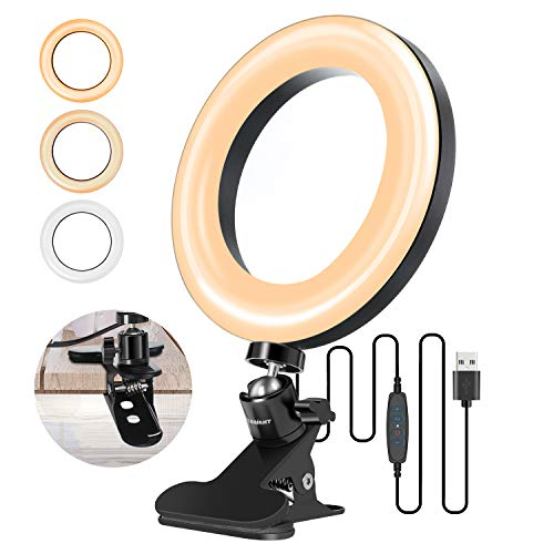 Video Conference Lighting Kit, ELEGIANT6.3 Zoom Calls Ring Light for Computer, Laptop, PC, Desk, with 3 Light Modes 11 Level, Clip On for Remote Working, Distance Learning Video Conferencing, Meeting