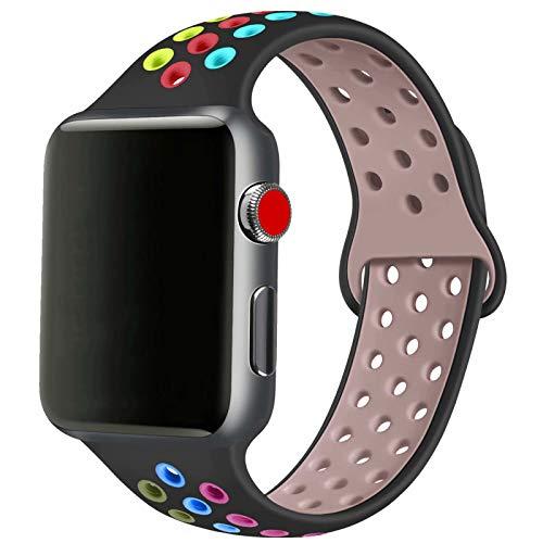 SSEIHI Compatibile con Cinturino Apple Watch 42mm 44mm,Cinturino di Ricambio Sportivo in Silicone Morbido per Cinturino per iWatch Serie 6/5/4/3/2/1,SE,Sport,Traspirante, S/M,Black Color