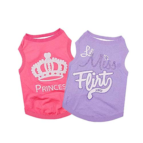 Yikeyo Set of 2 Dog Clothes Summer Puppy Shirt for Small Dog Girl Cute Patterns Pet Tshirts Outfits for Chihuahua Yorkie Shih tzu Cat (X-Small, Pink + Purple)
