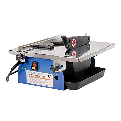 Leegol Electric 7-Inch Wet Tile Saw - Portable Wet Cutting Porcelain Tile Cutter Table Saw with...