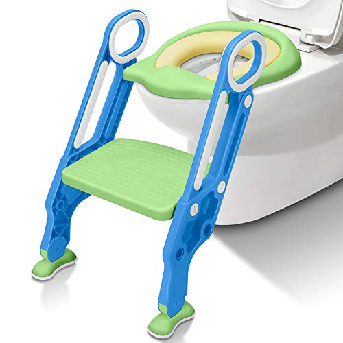 Potty Training Seat with Step Stool Ladder SunBorder Chair for Kids Baby and Toddler Toilet Training with Handles Padded Seat Wide Step Non-Slip (Blue Green)