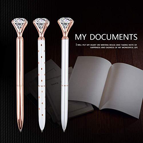 3 Pcs Rose Gold Pen with Big Diamond/Crystal ,Metal Ballpoint Pen,Rose Gold/Silver Office Supplies,Black Ink (3pcs) Photo #3