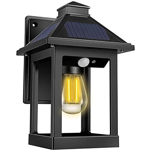 Solarlampen für AußEn, Solarlaterne Wetterfest, Solar Wandleuchte Aussen mit E26/27 GlüHbirnen, 3 Modi AußEnlampe mit Bewegungsmelder Gartendeko Vintage Wandlampe Solarleuchten für Garten Balkon