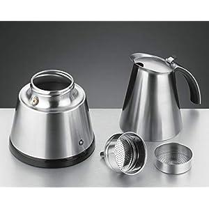ROMMELSBACHER EKO 364/E Espressokocher elektrisch (2-4 Tassen, 250ml Füllmenge, 2 Edelstahl-Filtereinsätze, Abschaltautomatik, Sicherheitsventil, Ein/Ausschalter, 365 W) Edelstahl
