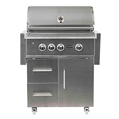 Coyote S-Series Propane Gas Grill, 30-in. 3-Burner Freestanding Grill with RapidSear Infrared Burner & Rotisserie - C2SL30LP-FS