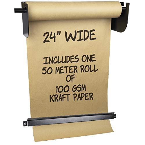 Dispensador y cortador de papel kraft montado en la pared: incluye rollo de papel kraft de 50 metros de largo, perfecto para listas de...