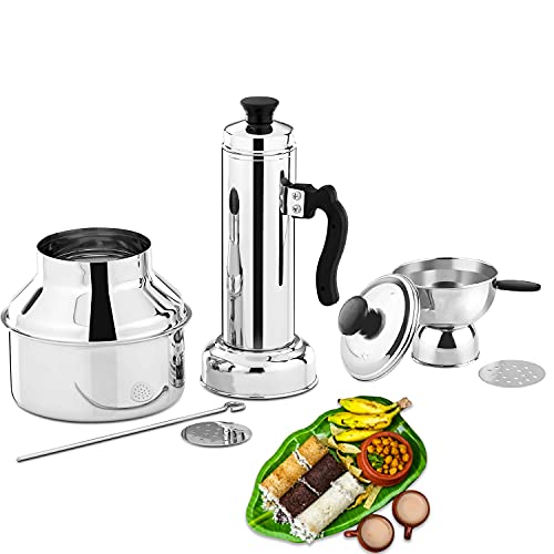 Panca Stainless Steel Puttu Maker with Cooker, puttu kudam Steel, Puttu Vessel, Chiratta Puttu Kudam,Puttu Maker Pressure Cooker, Puttu Maker Steel, Make in India, Silver (Pack of 1)