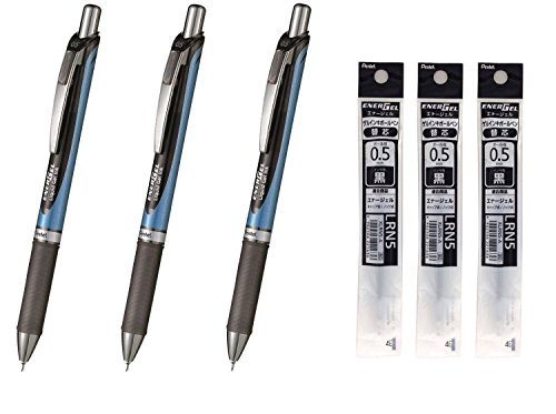 Pentel Kugelschreiber mit Gel-Tinte, EnerGel Knock Type 0,5,sehr dünn, BLN75-A, blaues Gehäuse, schwarze Tinte, Nachfüll-Tinte je 3Stück