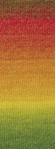 Lana Grossa Gomitolo Versione 411 - Oliv/Rot/Orange/Gelb/Gelbgrün/Grün