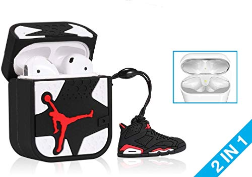 KWERKY Covers Nike Jordan Apple AirPod 1 & 2 Case Protective Silicone Cover Including Infrared Charm EarPods Black White Jumpman