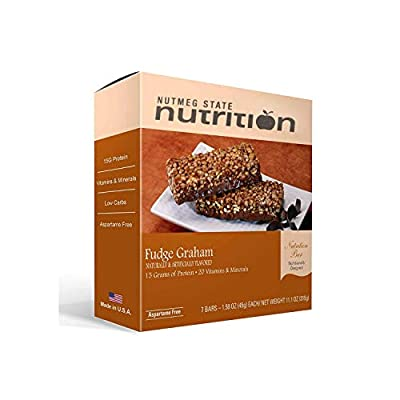 Nutmeg State Nutrition High Protein Snack and Meal Replacement Bar / Diet Bars - Fudge Graham (7ct) - Trans Fat Free, Aspartame Free, Kosher, High Fiber