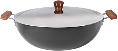 Wonderchef Ebony Aluminium Hard Anodized Deep Kadhai with Lid- 34cm, 8L, 3.25mm, Black
