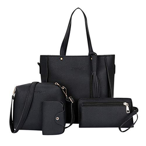 Damen Handtasche mit Muster, Leder, Umhängetasche, Kuriertasche, Karte, Allzweckpaket, einfach, kreativ, 4 Stück Gr. Einheitsgröße, Black Bag