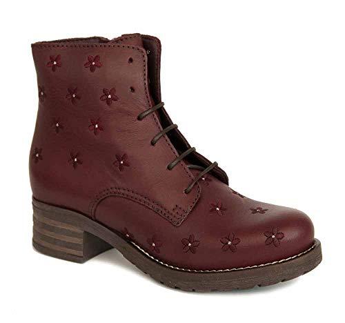 Brako Stiefel Boots 8437 Planet Burdeos rot Military Leder Blumen (38 EU)