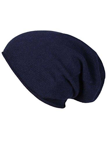 Zwillingsherz Slouch-Beanie-Mütze aus 100% Kaschmir - Hochwertige Strickmütze für Damen Mädchen Jungen - Hat - Unisex - One Size - warm und weich im Sommer Herbst und Winter - Navy