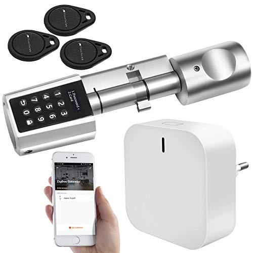 VisorTech ZigBee Türschloss: Tür-Schließzylinder mit Steuereinheit für ZigBee und Smart-Home-App (ZigBee Schloss)