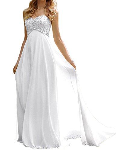 Dresses Onlie Damen Chiffon Trägerlos Brautkleider Wulstig Lang Strand Hochzeitskleid Abendkleid-Weiß-50