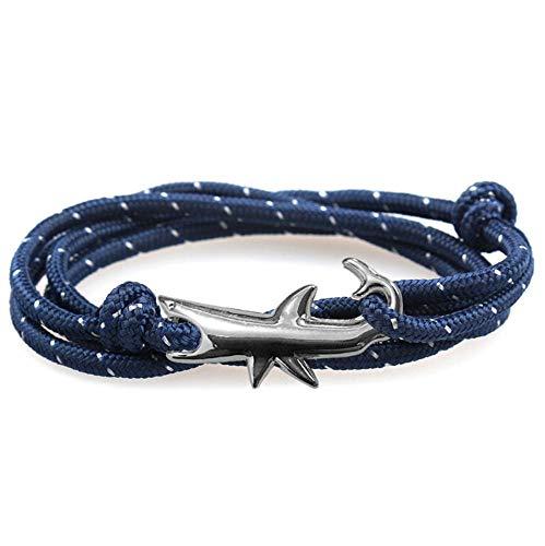 Wacemak1r Pulsera ajustable de tiburón tejida multicapa cuerda náutica regalo para hombres y mujeres