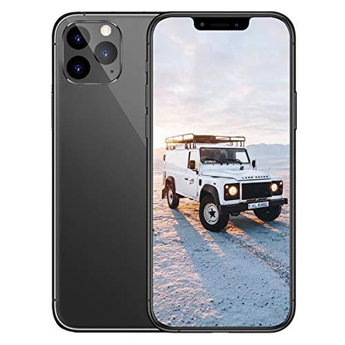 EANSSN - Teléfono inteligente de 6,5 pulgadas con pantalla completa con flecos, batería de 2800 mAh, reconocimiento de la cara, Android 6.0, reverso de vidrio, todo en uno, 8 GB + 512 GB, color negro
