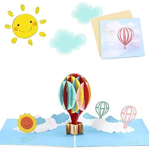 Sethexy 3D Tarjetas de felicitación con sobres Surgir Globo aerostático Acción de gracias Tarjeta de cumpleaños Graduacion aniversario Regalo de cumpleaños por la familia Mejor Novio Novia