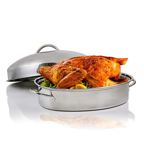 Ovente Kitchen Oval Roasting Pan 16 Inch Stainless Steel Baking Tray with Lid amp Rack Dishwasher Safe Portable Roaster for Oven Cooking Grilling Turkey Chicken at Home or Thanksgiving Silver CWR32161S