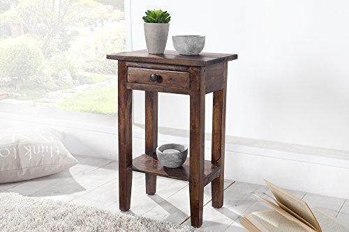 DuNord Design Telefontisch Beistelltisch Holz braun Coffee Mahagoni Massiv Holz Tisch Blumentisch