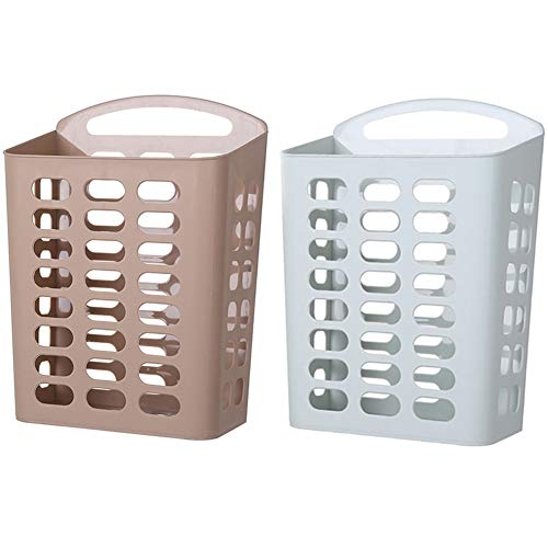 Aan de muur bevestigde wasmand, opslag Container/Organizer - Portable Wassen Tub - Space Saving Mand/Basket (Color : Khaki+Blue, 尺寸 Size : 24.5 * 12.5 * 37.5cm)