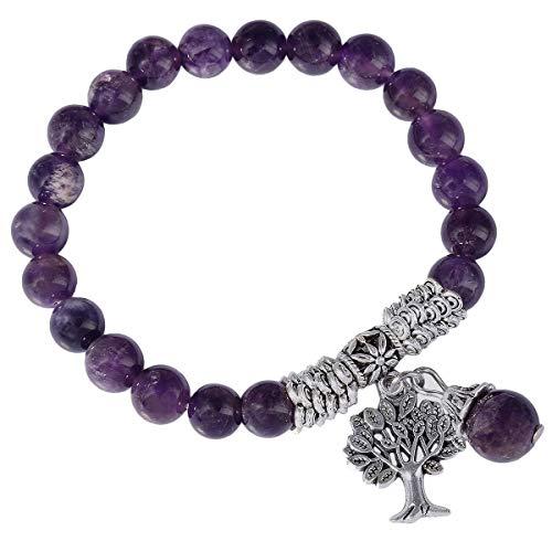 KYEYGWO 8mm Tree of Life Chakra Bracelet, Reiki Healing Balancing Lucky Charm Stretch Stone Beads Bracelet for Unisex