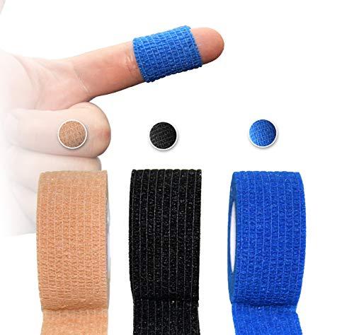Herolio Bandage schmal, das Fingerpflaster, selbsthaftend, Latex- und klebefrei 3er Paket (3 x 2,5 cm x 4,5 m) - TÜV-Zertifiziert