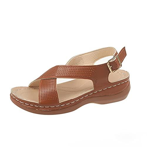 Sandalias para Mujer con Plataforma Verano de Ajuste Ancho Cuñas Sandalias de Tobillo Zapatos de Soporte de Arco al Aire Libre
