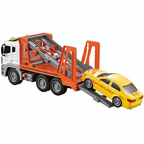 JOYIN 12.5' Friction Powered Jumbo Transport Car Carrier Tow Truck Toy with Lights & Sounds Sirens, Ramp, and A Removable Car Long 1:12