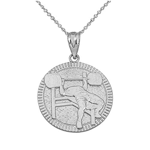 Certified Sterling Silver Fitness Gym Barbell Bench Press Medal Pendant Necklace, 22