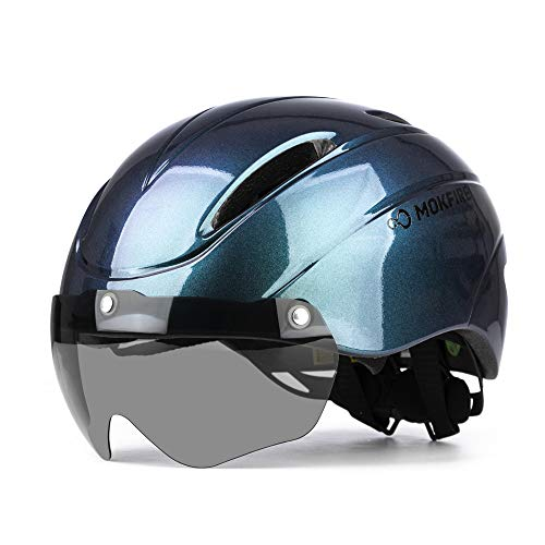 MOKFIRE Casco de Bicicleta para Adultos con Gafas Magnéticas Extraíbles, Casco de...