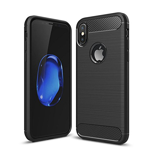 Plus Carbon Fiber Brushed Texture Shockproof Back Case Cover For Apple iPhone X - Midnight Black